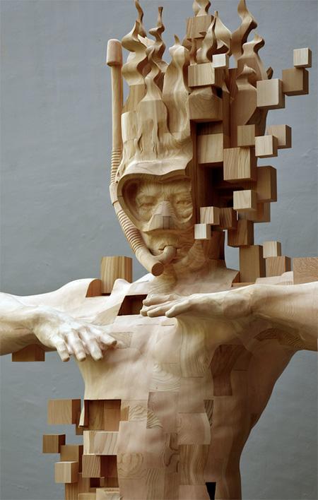Snorkeler Wooden Carving
