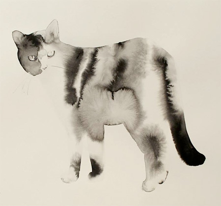Watercolor Cat Painting