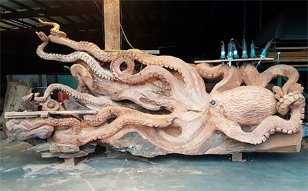 Wooden Octopus Sculpture
