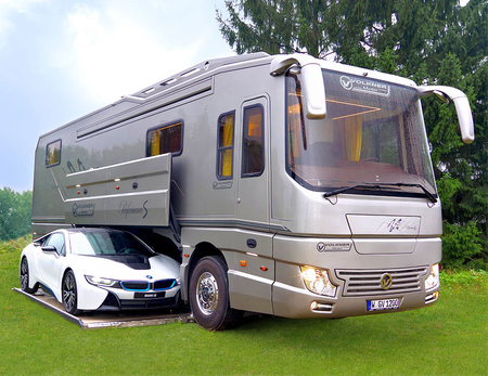 Motorhome with car garage for Garage class auto