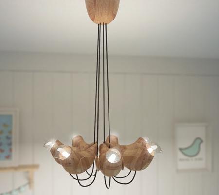 Wooden Bird Lamps