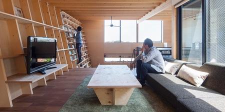 House with Bookshelf Wall