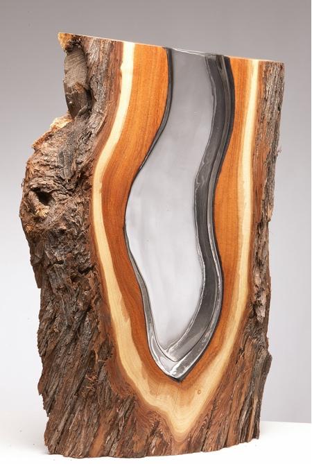 Glass in Wood Vase