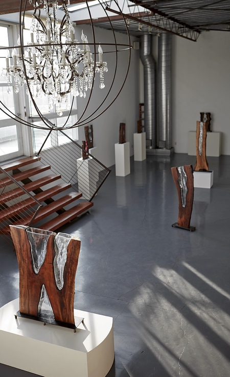 Glass in Wood Sculptures