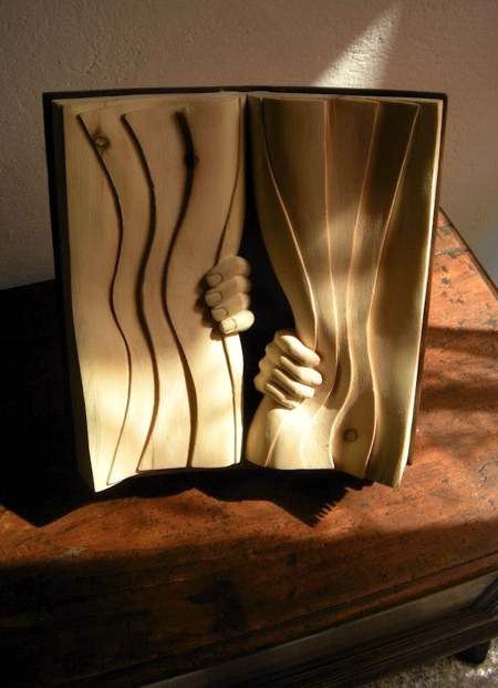 Wood Carved Books
