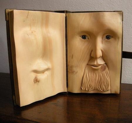 Wooden Book Sculptures