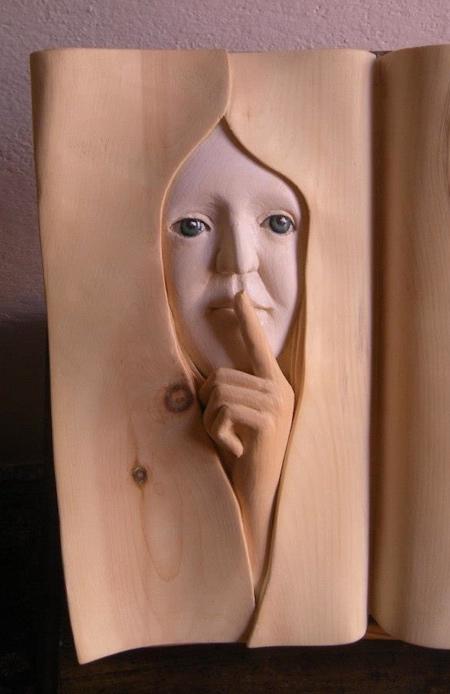 Wooden Book Sculpture