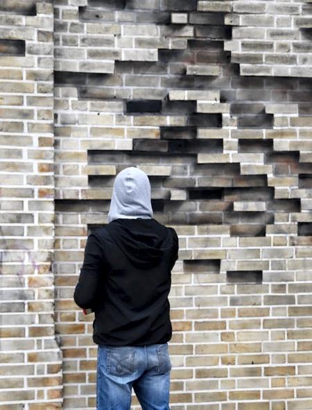 Brick Wall Tree Illusion