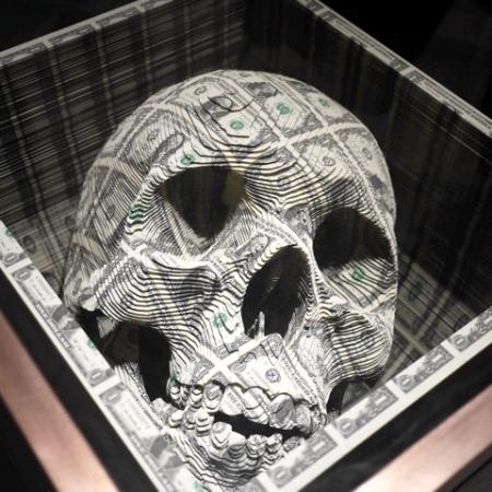 Skull Made of Dollar Bills