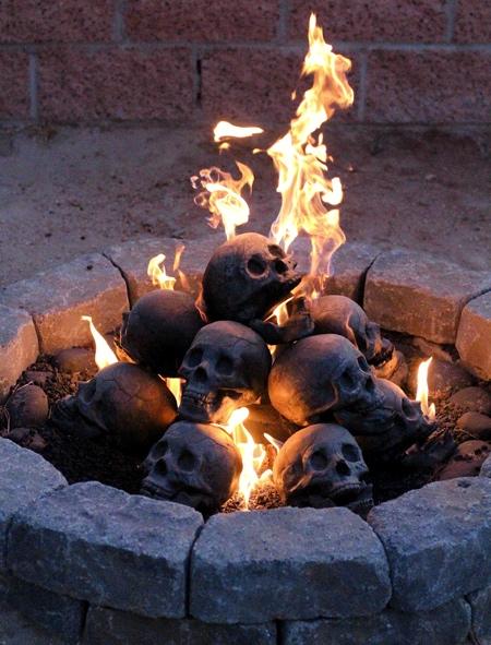Human Fire Pit Skull Gas Log