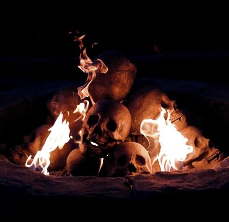 Human Skull Fire Log