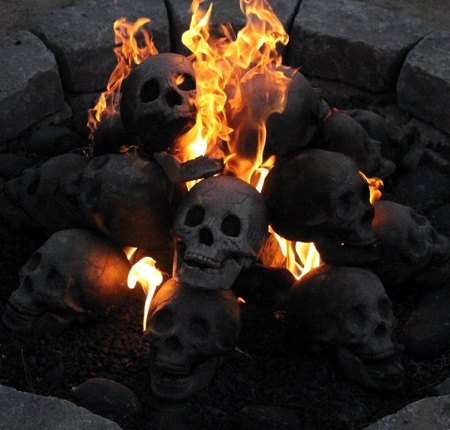 Human Skull Fireplace Log