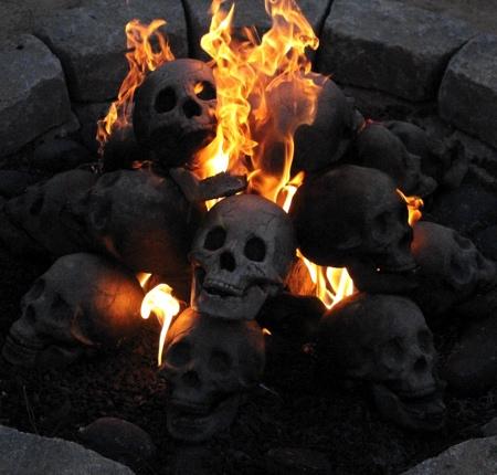 Human Skull Fireplace Log