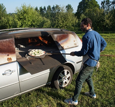 Car Turned into Pizza Oven