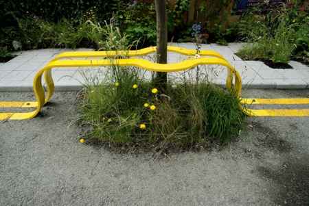 Yellow Road Lines Bench