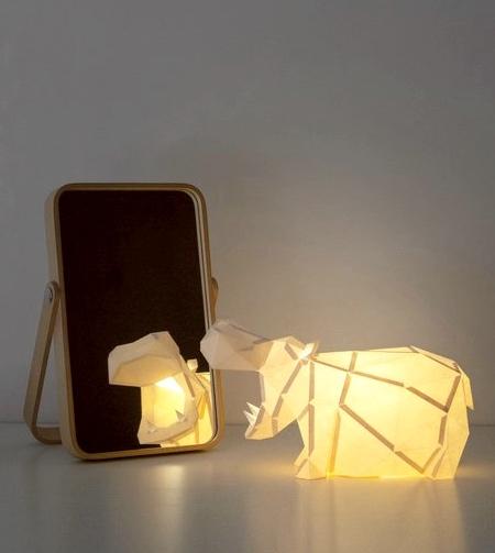 Roaring Hippo Paper Lamp