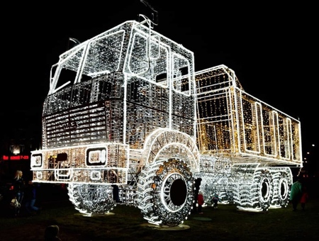Christmas MAZ Truck Sculpture
