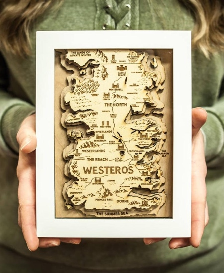 Game of Thrones Wooden Map