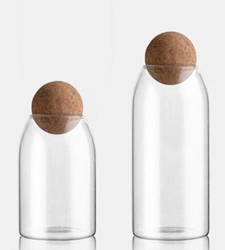 Round Cork Storage Jars