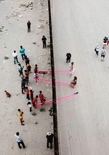 Seesaw Mexico United States Border Wall