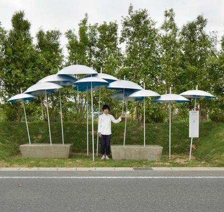 Umbrella Bus Stop in Japan