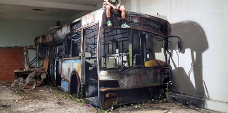 3D Bus Street Art