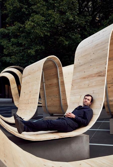 Paul Cocksedge Wooden Ribbon Bench