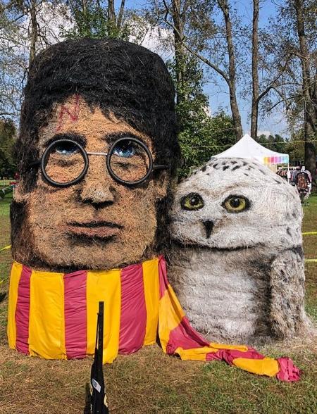 Halloween Hay Sculptures