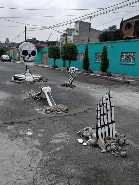 Giant Skeleton Street Art