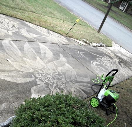 Power Washer Driveway Art