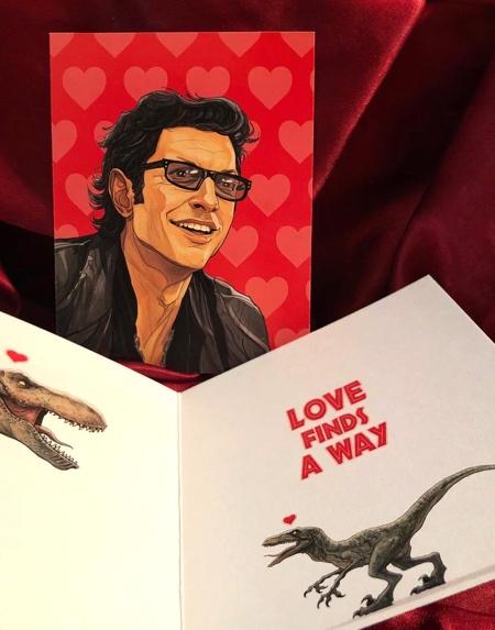 Ian Malcolm JURASSIC PARK Valentines Day Card