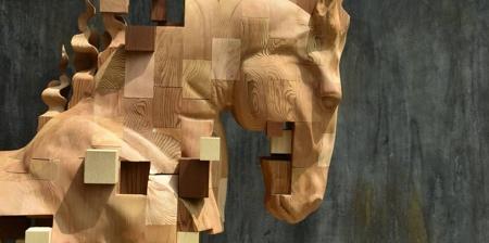 Pixelated Horse Sculpture