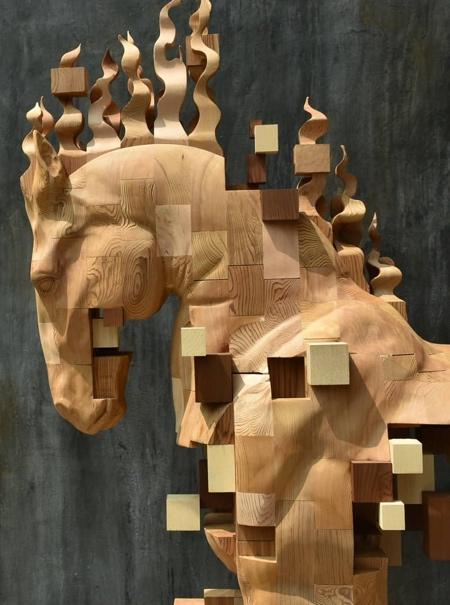 Pixelated Wooden Horse