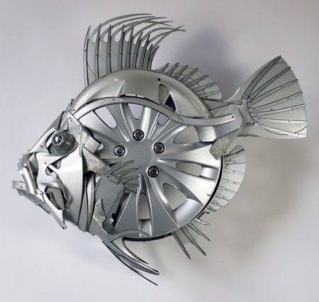 Hubcap Sculpture