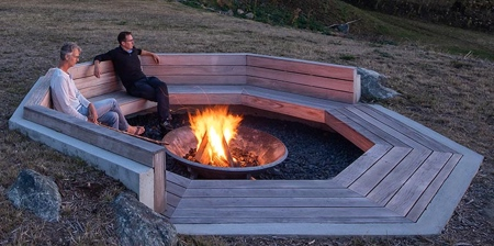 Wooden Bench Fire Pit