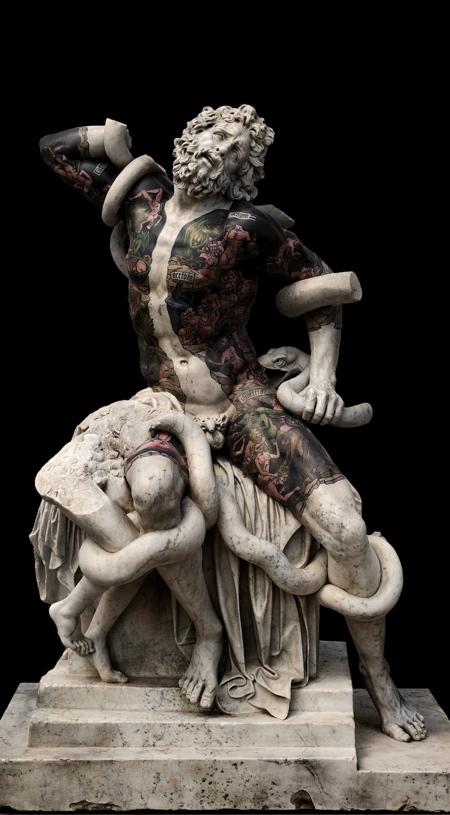 Tattooed Marble Statues
