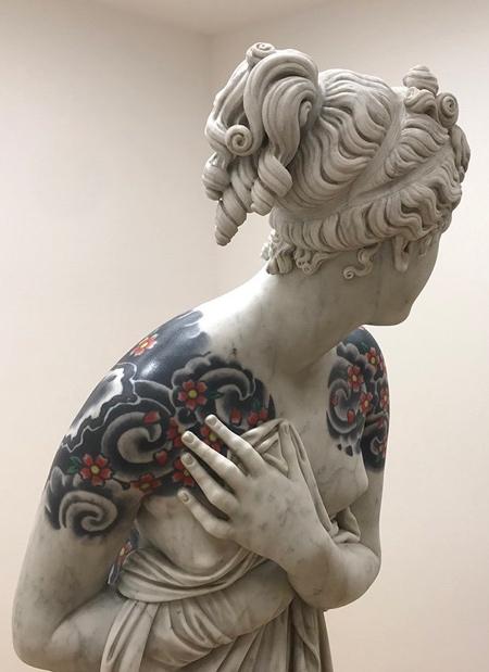 Tattooed Marble Statue