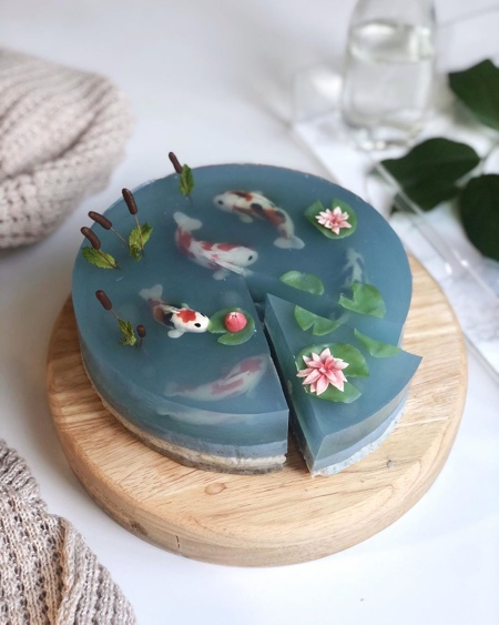 Realistic Koi Pond Cake