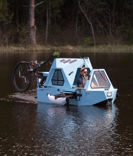 Amphibious E-Tricycle Camper