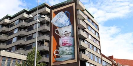 Tea Cups 3D Mural