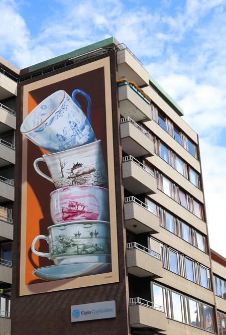 Shattering Tea Cups 3D Mural