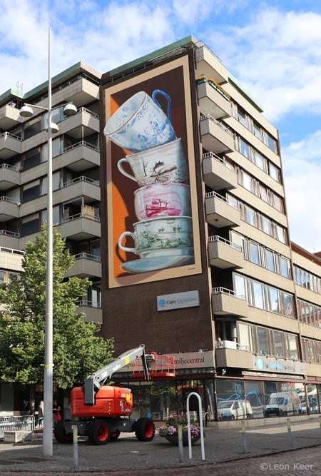 Falling Tea Cups 3D Mural