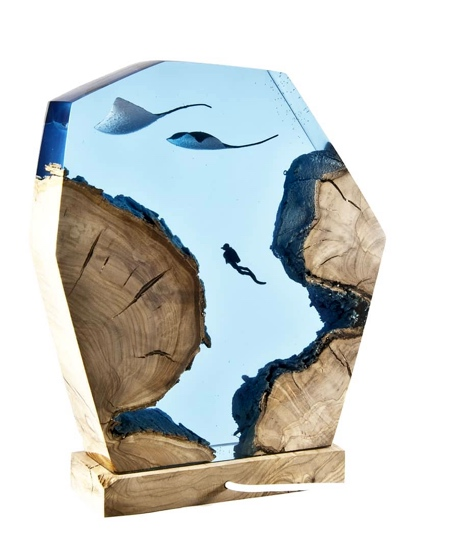 Wood and Resin Ocean Lamp