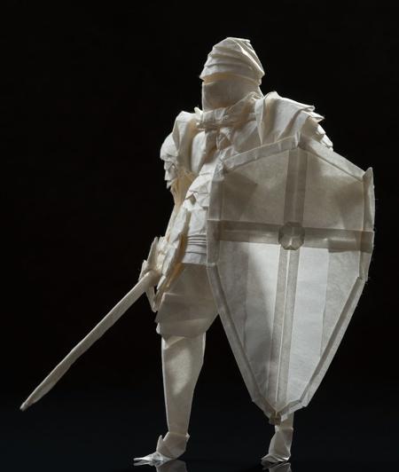 Paper Knight Sculpture